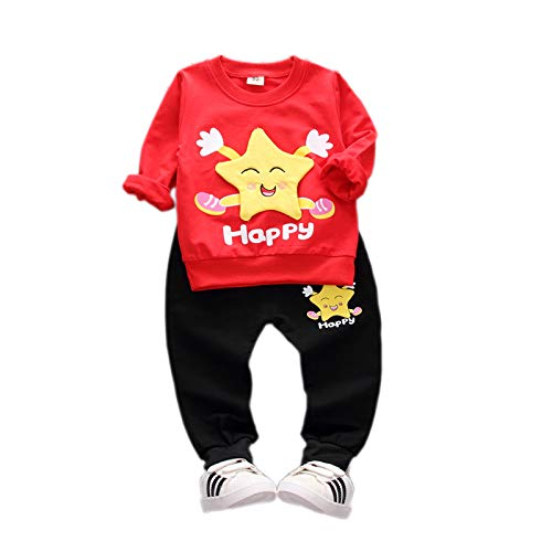 Baby Boy Girl Clothing Set Red Black Long Sleeves Tshirt Pant Set (2-3 Years)