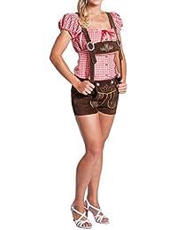 FROHSINN Damen Trachten Lederhose kurz, 100% Leder, Kurze Trachtenlederhose für Oktoberfest - Aktuelles 2018 Modell
