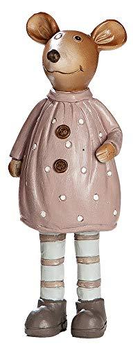 dekojohnson Mäuse-Figuren Deko-Maus Deko-Figur für den Garten - Maus Frau für den Blumentopf Wohnzimmer Creme braun 16cm