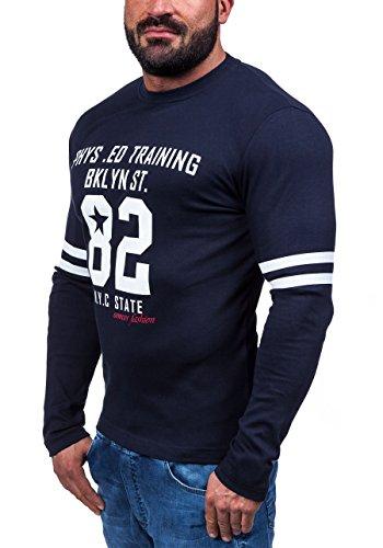 BOLF Pullover Langarmshirt Longsleeve Sweatjacke Motiv Herren Sweatshirt COMEOR 4245 Dunkelblau