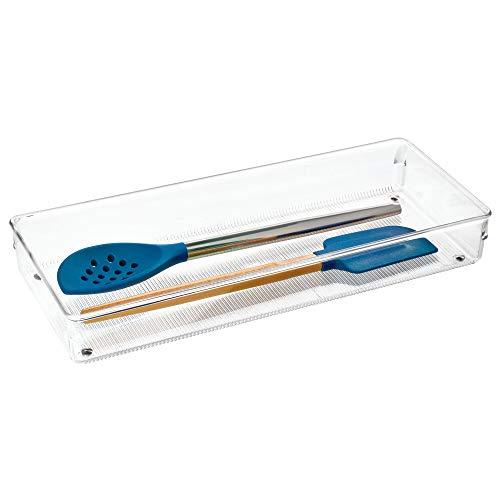 InterDesign Linus boite stockage pour tiroir, grande boite de classement pour accessoires, bac rangement plastique, transparent