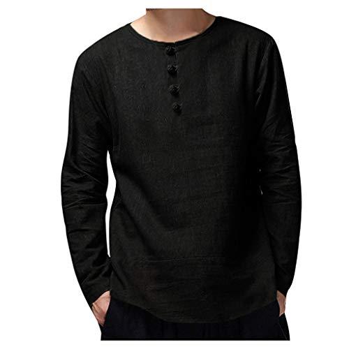UFACE Herren T-Shirt Retro Baumwolle Leinen Hemd Casual V Ausschnitt Langarmshirt Tee Basic Shirt Einfarbig Lose Coole Hemden Hippie Kleidung