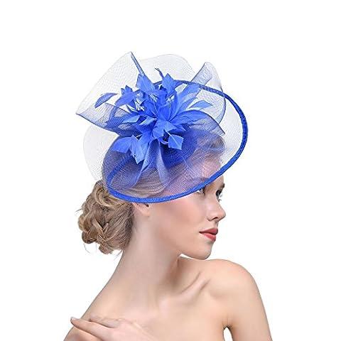 DUUMY Femmes 2017 New Feather net Harnais Banquet Chapeau Chevaux Chapeaux Danse Bride Gauze Handmade Headdress Bijoux de Mariage , blue