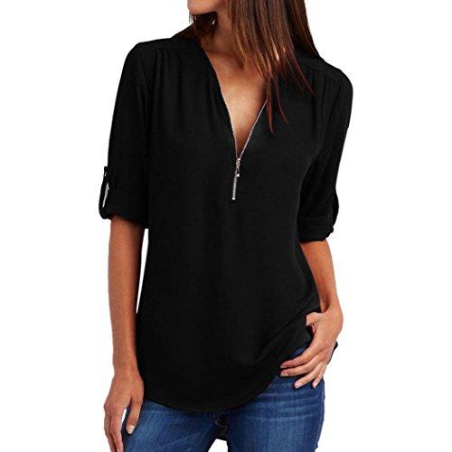 Elecenty Blusen Reizvolle Damen Bluse Langarmshirt Tiefer V-Ausschnitt Oberteile Frauen Reißverschluss Tops Frauen Blusenshirt Solide Damenmode T-Shirt Hemden Tops Hemd (S, Schwarz 2)