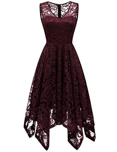 Meetjen Damen Elegant Spitzenkleid V-Ausschnitt Unregelmässiger Asymmetrischer Saum Festliches Kleid Cocktail Abendkleid Burgundy XS