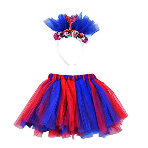 PRETYZOOM Mädchen Tutu Röcke Set mit Stirnband Meerjungfrau Prinzessin Mädchen Tutu Outfit Baby Mädchen Geburtstag Outfit Set Größe M (Meerjungfrau Verkleiden Outfit)