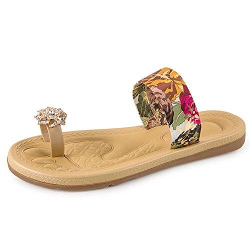 Chanclas de mujer Sandalias Mujeres Moda Verano Plano Mocasines Bohemia Clip Toe Dulce Sandalias casuales Zapatos de playa Sandalias romanas LMMVP (38(CN), Rojo)