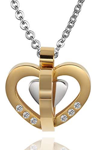 Beydodo Frauen Halskette mit Anhänger Herzen Gold Kette für Freundschaftskette