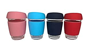 Reusable Travel Mug Latte Glass Coffee Cups Thermal Mugs with Silicone Lid Espresso Coffee Cup Glass Tea Cup Cappuccino Cup Travel Cup for Women and Men 12oz