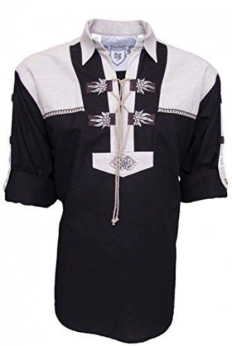 Trachtenhemd für Lederhosen mit Verzierung Schwarz, Hemdgröße:S