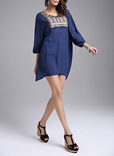 Azbro Women's Casual 3/4 Sleeve Loose Fit Pullover Mini Dress Navy