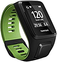 TomTom Runner 3 GPS Running Watch with Heart Rate Monitor, Large Strap - Black/Green