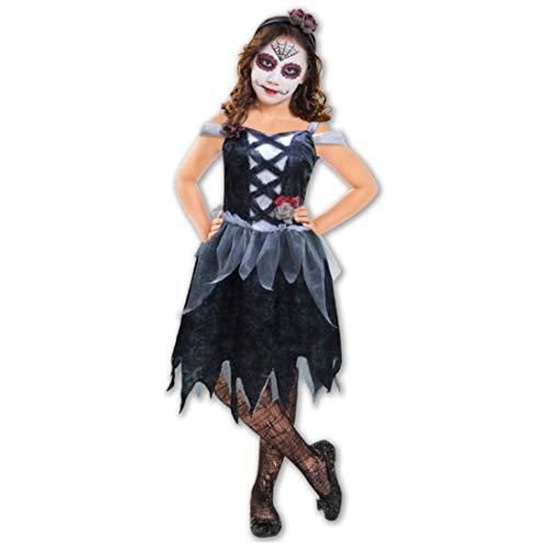 Kaiser24 Zombie Mädchen Kostüm La Catrina 140 M 7-10 Jahre - La Catrina Kostüm Mädchen