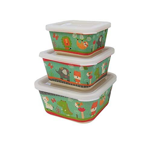 FIBERBAMBOO 3er Set Kinder Taper Bambus Baby Geschirrspüler umweltfreundlich BPA-frei ideal für Baby und Kinder Geschenk Jungen und Mädchen Tiere