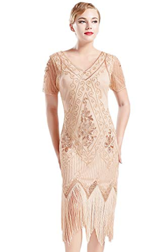 ArtiDeco 1920s Kleid Damen Flapper Kleid mit Kurzem Ärmel Gatsby Motto Party Damen Kostüm Kleid (Aprikose, XL)