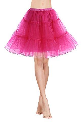 Gardenwed Vintage Damen 1950er Rockabilly Mini Tutu Kleid Retro Petticoat Unterrock Rose (Size Schwarz Tutu Plus)