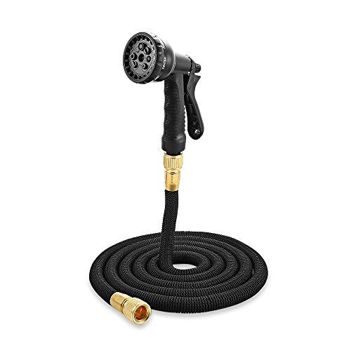 Flexibler Gartenschlauch, Aceown Wasserschlauch Flexischlauch Dehnbar Schlauch Sprühpistole mit 8 Funktion für Gartenarbeit Autowäsche und Haustiere Duschen ( Schwarz --15m)