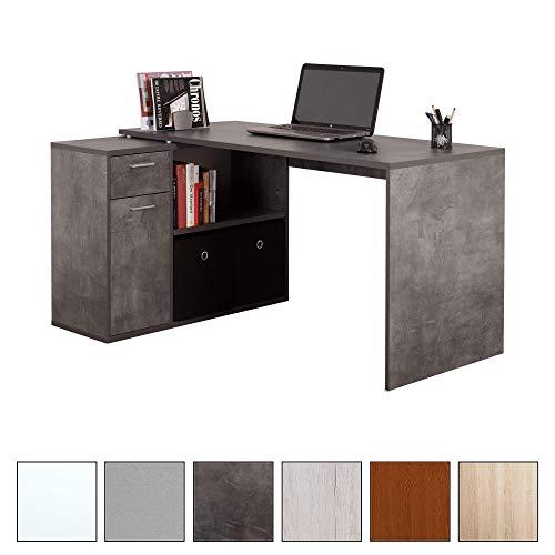 RICOO Schreibtisch Bürotisch WM083-BG Arbeitstisch Eckschreibtisch Computertisch Lowboard Aktenschrank Regal Organizer/Holz Betongrau Dunkel (Bauen Sie Einen Desktop-computer)
