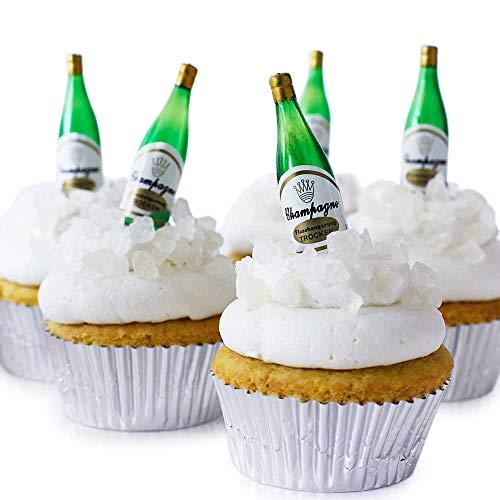 Champagner Flasche Cupcake Topper Kit-(24) 21/10,2cm Mini Champagner Flasche Novelties, weiß Rock Sugar, silber Folie Cupcake Müllbeutel