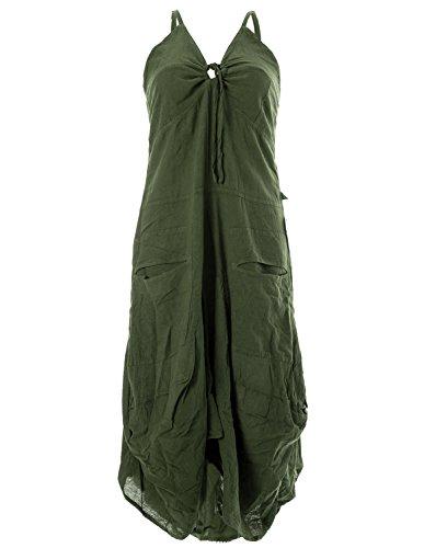 Vishes - Alternative Bekleidung - Lagenlook Ballonkleid mit verstellbaren Trägern olivegrün 46-48 (4XL) -
