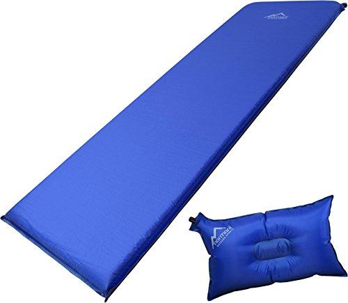 Selbstaufblasbare Luftmatratze inkl. Kissen zum Outdoor Camping Farbe SurfBlue/DarkShadow Größe 197 x 64 x 7 cm