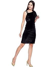 Black ruffle sleeve single strap velvet dress