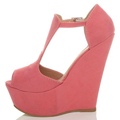 Toe Suede Sandalen Schuhe Keilabsatz Peep Pink Hohe Riemen Gr枚脽e Coral T Plateau Damen fSwX7qf