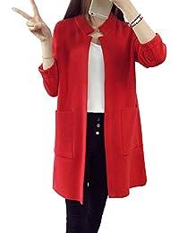 40539931f9f098 ZhuiKun Damen Langarm Lose Stehkragen Strickjacke Cardigan Strickmantel  Outwear Tops Pullover mit Tasche