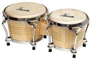 XDrum Bongo PRO 17cm (6 3/4 Zoll) Macho und 20cm (8 Zoll) Hembra Holz natur Percussion Holzbongo Naturfelle Trommel