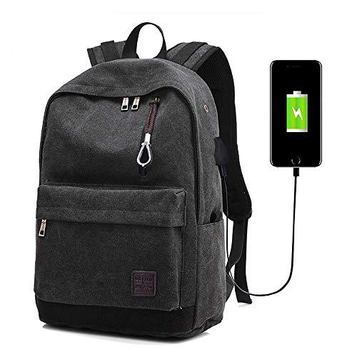 Zaino per laptop con porta di ricarica usb,daypacks casual, zaino da viaggio di moda,zaino per studenti universitari,borsa da alpinismo,adatta laptop e notebook da 15,6 pollici nero