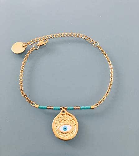 Bracciale occhio greco, bracciale donna greco placcato oro 24 k, Bracciale dorato, idea regalo, bracciale oro, gioielli regalo, gioiello donna oro