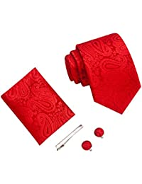 LUYOHO Paisley Moda de Hombre Corbata, pañuelo, pin palo y Gemelos caja de regalo
