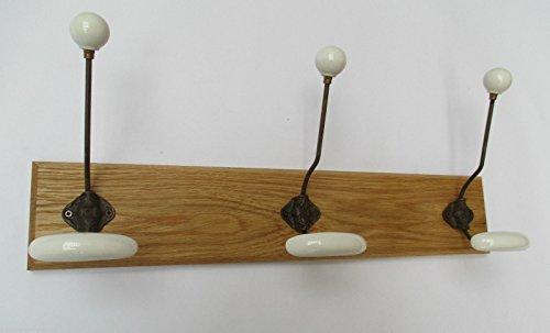Ironmongery World® in 7misure fatto a mano in legno di quercia massiccio, cappello e cappotto ganci rail rack Board 138, 7