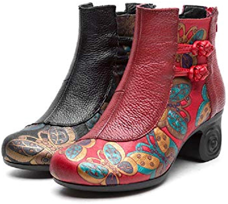 Gaslinyuan Stivali Stivali Stivali da Donna Stivali in Pelle con Stampa Floreale (Coloreee   Nero, Dimensione   EU 38) | Fai pieno uso dei materiali  d98f59