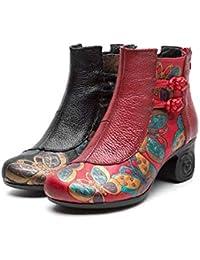 ZHRUI Zapatos de Cuero con Estampado de Flores con Cremallera y Botas de Mujer (Color