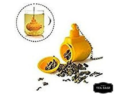 TEA-BAGZ/ Lot de 2 Infuseurs de Thé /En forme Sous Marin Jaune des Mers / Idéal pour une infusion Bio/Tisane/Thé vert,/ Thé noir/ Accessoires home et cuisine/ Diffuseur à Thé Original/ Diffuseur à Thé de Haute Qualité / Diffuseur de thé 100% silicone/ Inf