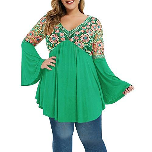 Kobay Frauen Plus Größen Lange Hülsen Oberseiten Aufflackern Hülsen bestickte T-Shirt Bluse Übergroße Glocken Hülsen Blumen Gestickte V-Ansatz Oberseiten -