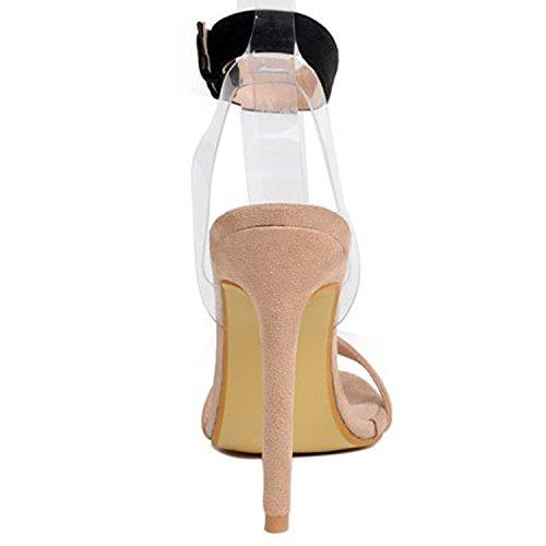 Oasap Women's Peep Toe Stiletto Heels Buckle Strap Party Sandals apricot