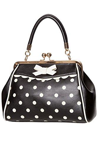 Banned Crazy Little Thing Vintage Bag 50er Jahre Rockabilly Polka Top Henkel Handtasche - Schwarz-Weiß