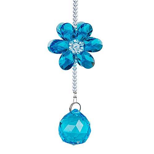 1 pcs/lot de fenêtre à suspendre Cristal Suncathcer Octagon Perles Chaîne Sphère Lustre Lampes lumière pendentif Rideau Décoration de mariage cadeau bleu