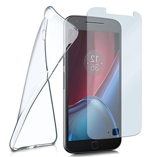 moex Silikon-Hülle für Lenovo Moto G4   + Panzerglas Set [360 Grad] Glas Schutz-Folie mit Back-Cover Transparent Handy-Hülle Motorola Moto G4/G4 Plus Case Slim Schutzhülle Panzerfolie