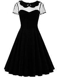 JapanAttitude Robe Noire en Velours avec Haut en résille, Retro Vintage  Pinup 3693559027d