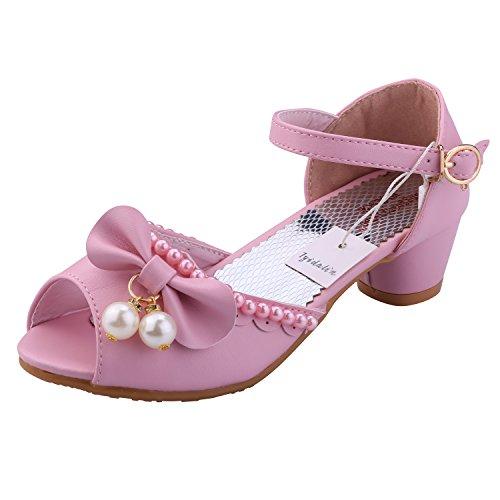 Sandali Bambina Ballerine Scarpe Ragazza Principessa Costume - Tyidalin Perline Eleganti Compleanno Cerimonia Festival Primavera per Bambini Pink EU26