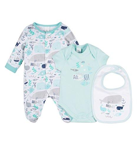 C&A Baby Jungen Schlafanzug Schlafstrampler Schlafoverall Meer Fische weiß blau Größe 56