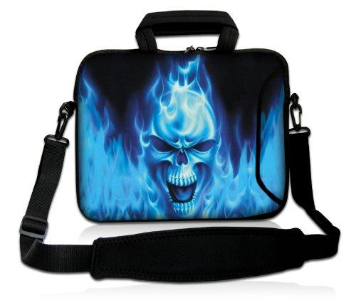 Luxburg® Design Laptoptasche Notebooktasche Sleeve mit Schultergurt und Fach für 17,3 Zoll, Motiv: Blaues Feuer Totenkopf