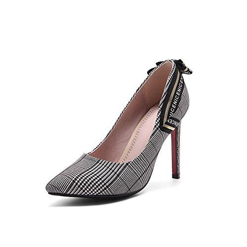 Dimaol Zapatos Mujer Tela Cadono Spring Comfort Heels Punta De Tacón De Aguja Para Fiesta De Boda Y Noche Negro / Blanco Negro / Rojo Blanco Y Negro