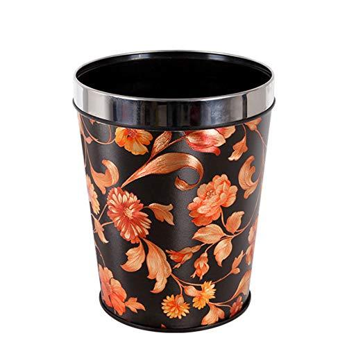 LIZONGFQ Papierkorb, Großer Konischer PP-Mülleimer 12L Papierkorb Für Das Büro Zu Hause Papierkorb Mülleimer Ohne Deckel + Blumenmuster,C