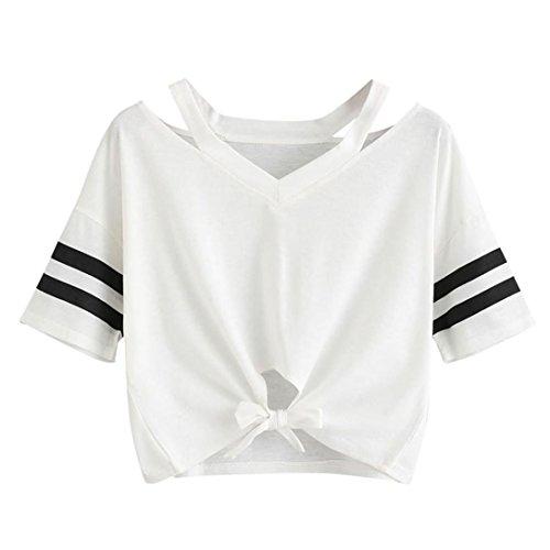 Maglietta badange da donna a maniche corte kword casuale pullover t-shirt ragazza felpa sportivo sweatshirt (bianco, s)