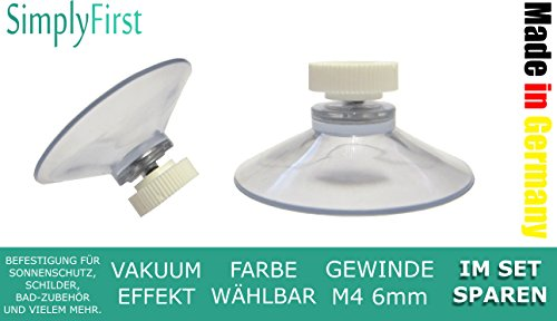 12 Ventosas con rosca y tuerca moleteada transparentes extrafuertes y adhesivas para letreros, protección solar, matrículas, toalleros, soporte para cepillos de dientes - Made in Germany, calidad profesional de SimplyFirst