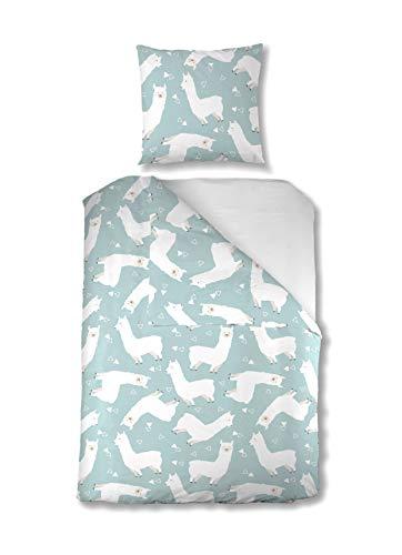 Aminata Kids Kinder-Bettwäsche-Set 135-x-200-cm Lama-Motiv | Mädchen, Jugendliche, | Lama-Bettwäsche Alpaka aus 100-% Baumwolle | blau, weiß | Marken-Reißverschluss & Öko-Tex -